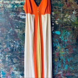 Vintage Long Nightgown Orange & Yellow USA